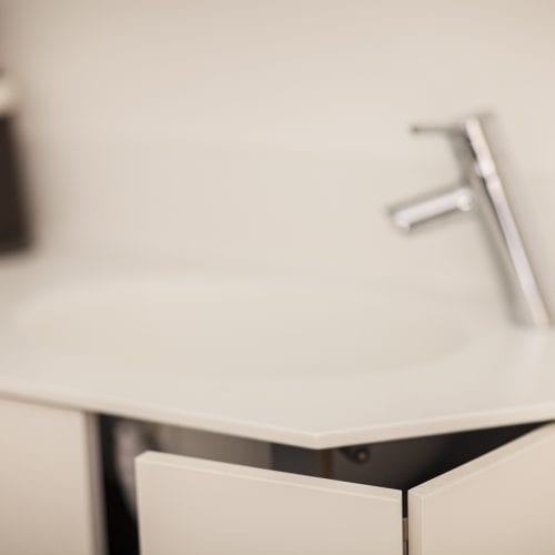 Closeup of sink and cabinet