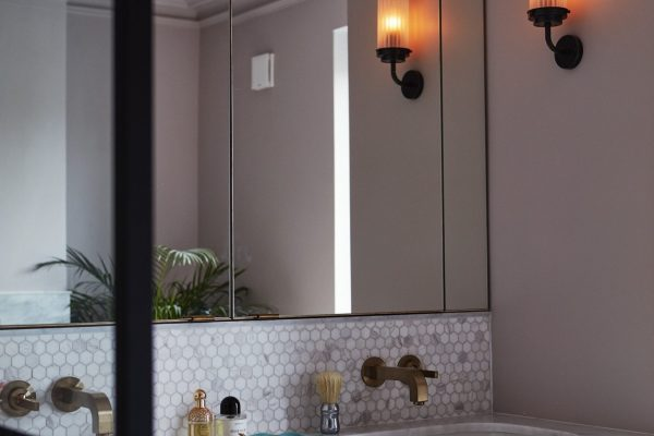 Bathroom sink cabinet and mirror