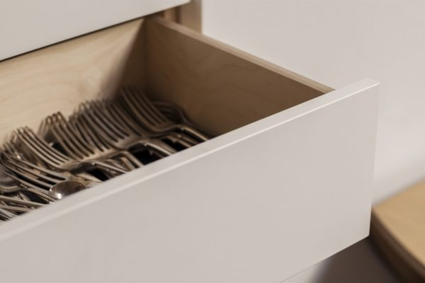 Closeup of kitchen cutlery drawer