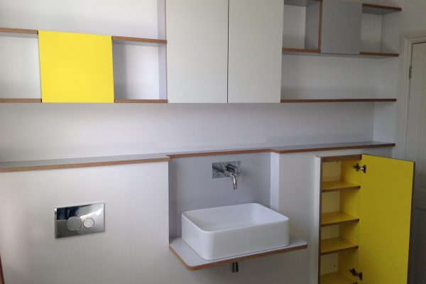 Bathroom shelves and cabinets showing open door detail
